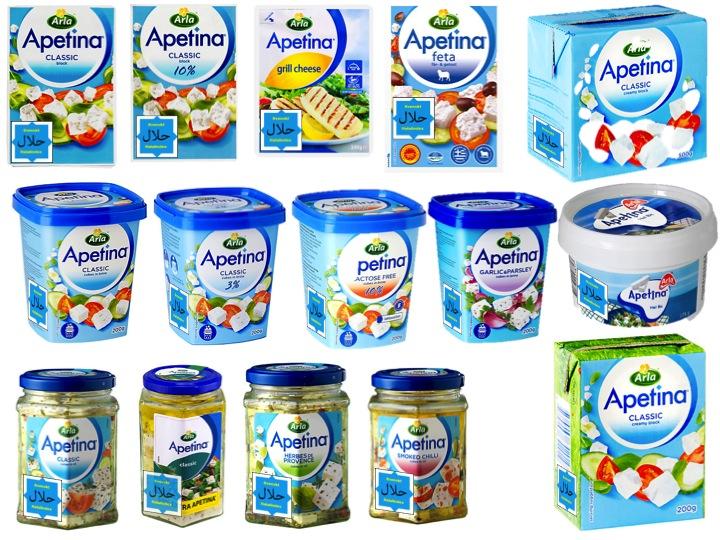 Apetinas ostar av Feta-typ tillverkade med ystenzym. Översta raden från vänster:
