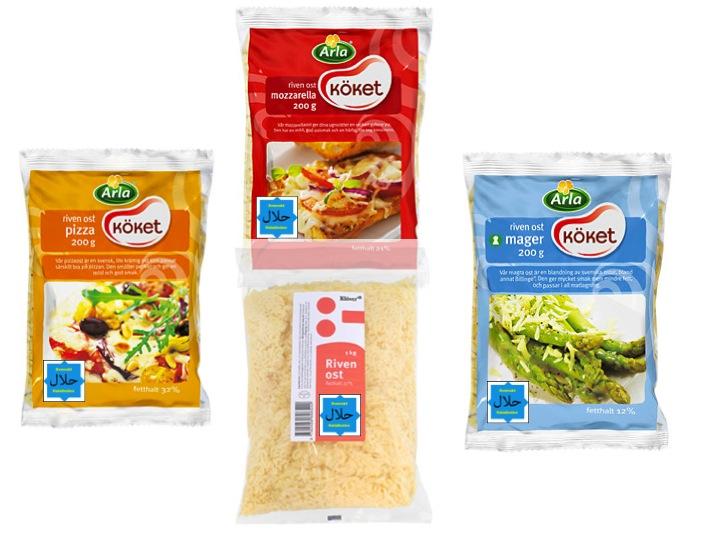 Riven ost: (Observera att Svenskt Halalindex-märkningen som syns i bilden ovan ej finns på de aktuella förpackningarna!). På bilden: pizza, mozarella, mager, Klöver