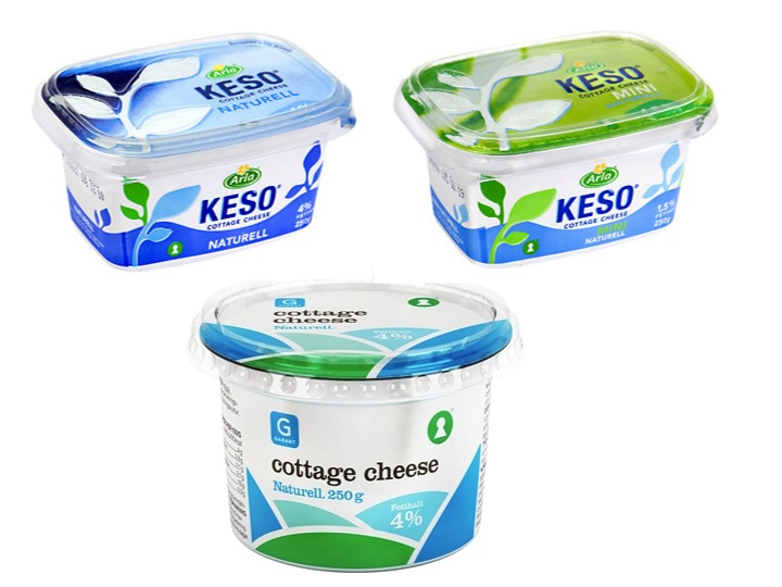 Keso och Cottage Cheese som innehåller (ost)löpe. (Observera att ingen av produkterna har märkts med Svenskt Halalindex)
