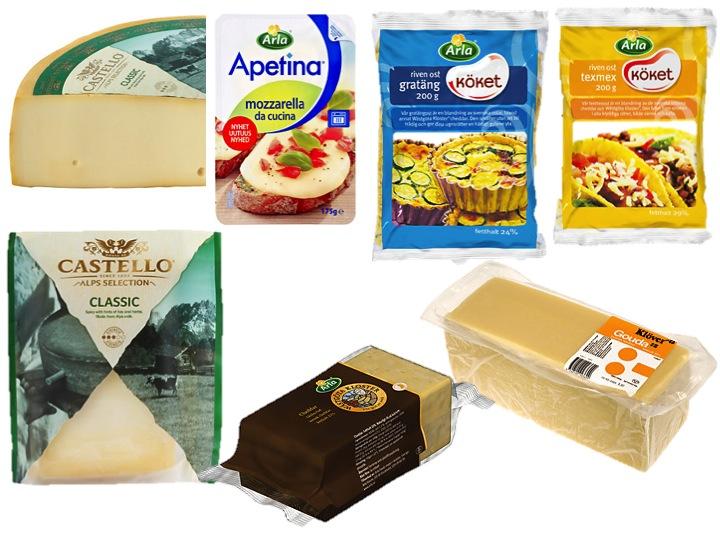 Ostar med ostlöpe som liknar ostar med ystenzym(Observera att det inte finns någon Svenskt Halalindex-märkning på ostar som syns i bilden ovan då dessa ostar innehåller ostlöpe (löpe)).Övre raden från vänster: Castello Alps Selection Classic (kvart), Apetina Mozarella, Riven ost: Gratäng och TexMex. Nedre raden från vänster: Castello Alps Selection Classic (bit), Wästgöta Kloster Cheddar 32%, Klöver Gouda 30%.
